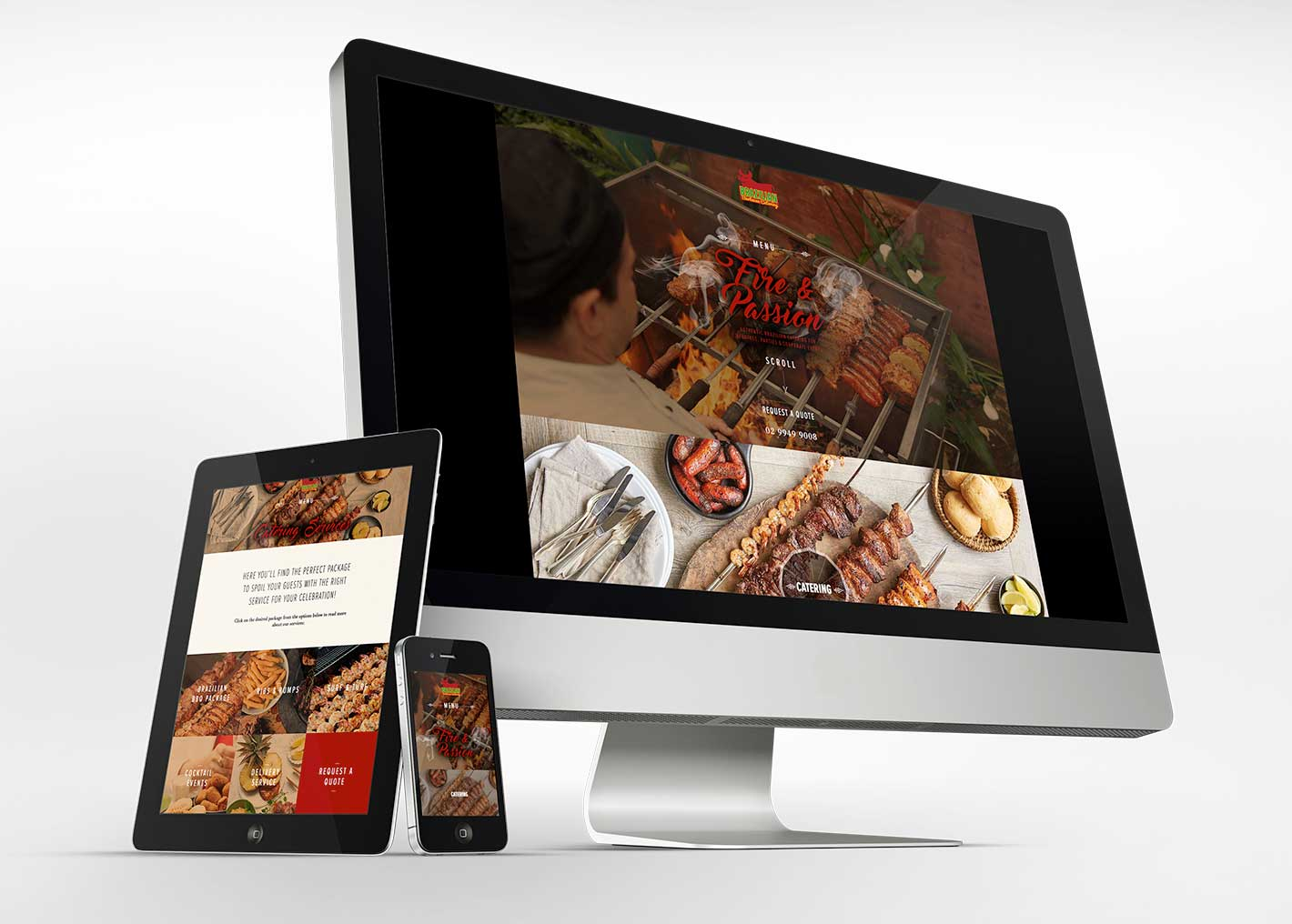 Brazilian Barbecue Catering website on various devices